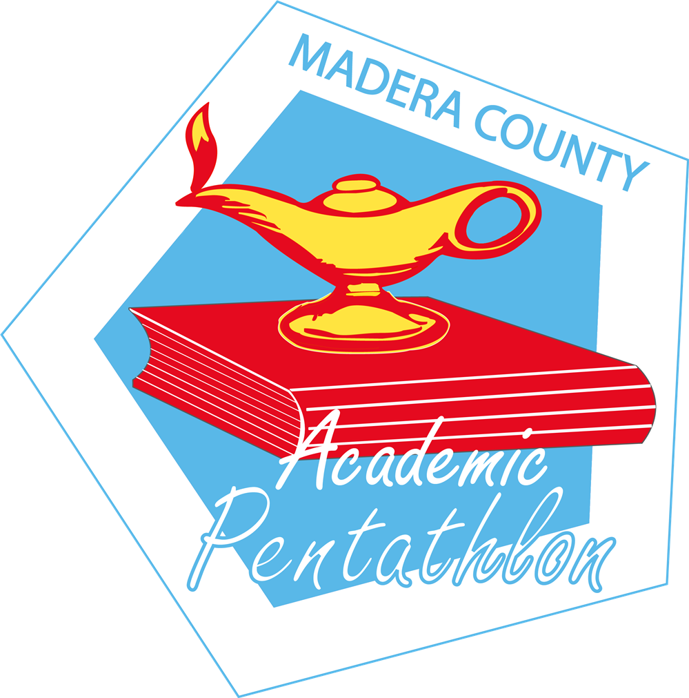 Academic Pentathlon logo.  A lamp of learning on stacked books in a pentagon.