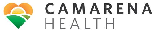 Camarena Health logo.  A heart made of hills on the bottom, with the sun along the horizon.