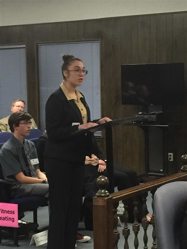 Attorney arguing her case during the Mock Trial
