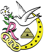 Rebekah Lodge Logo- a dove holding a flower with a crescent moon and stars on the right and three chain links at the end of the moon on the bottom.