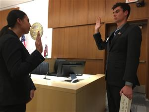 Student bailiff swearing in a student witness