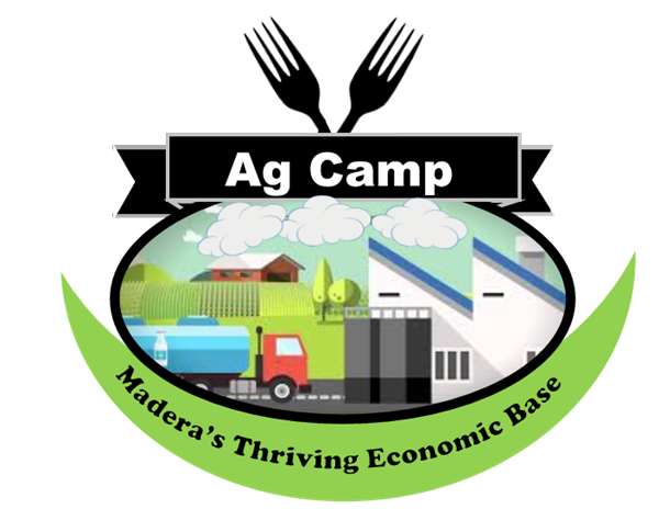 Ag Camp Logo.  An oval with a semi-truck driving through an industrial city. The words Madera's Thriving Economic Base below.