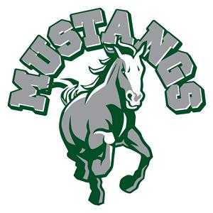 School logo, picture of Mustang with Mustangs written over the igame.