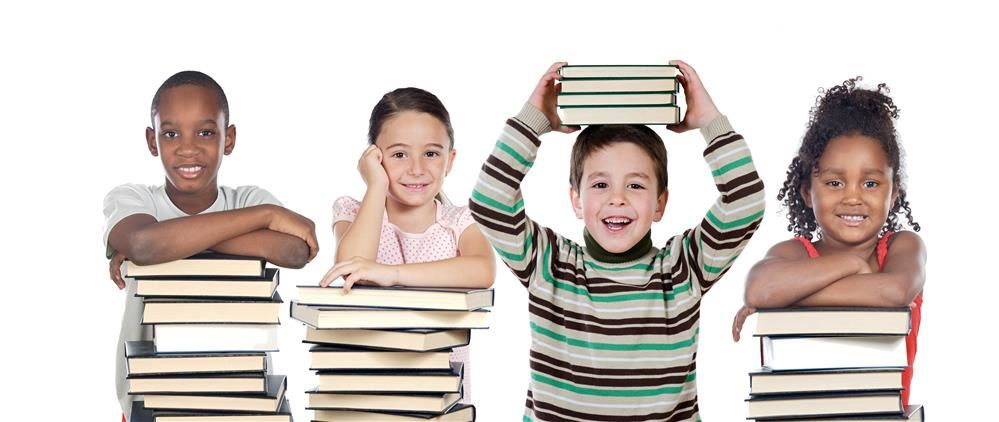 Four kids in a row leaning or holding books