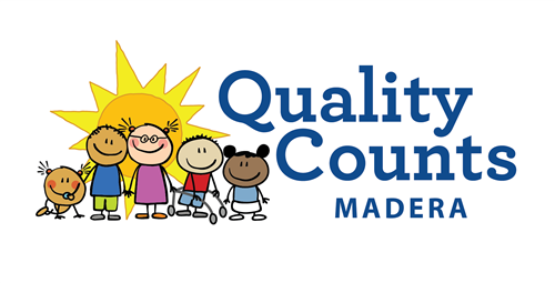 Quality Counts Madera Logo with five shildren holding hands in front of the sun